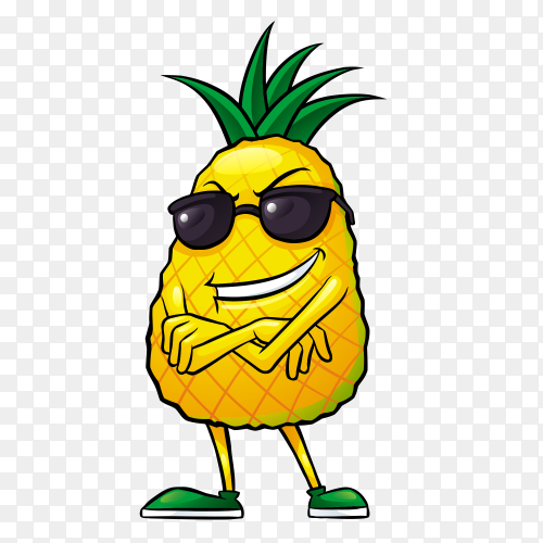 Happy pineapple on transparent background PNG