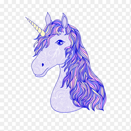 Head hand drawn unicorn vector PNG