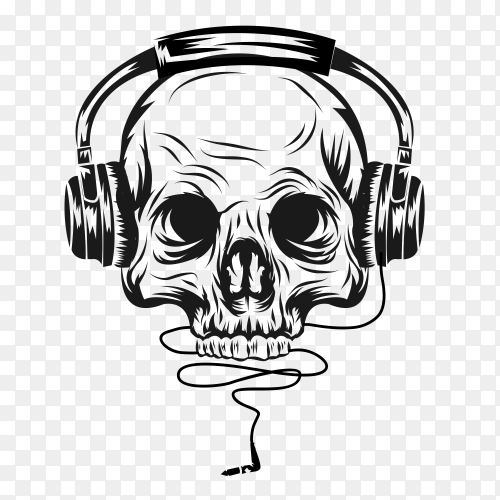 Head skull with headphone illustration vector PNG