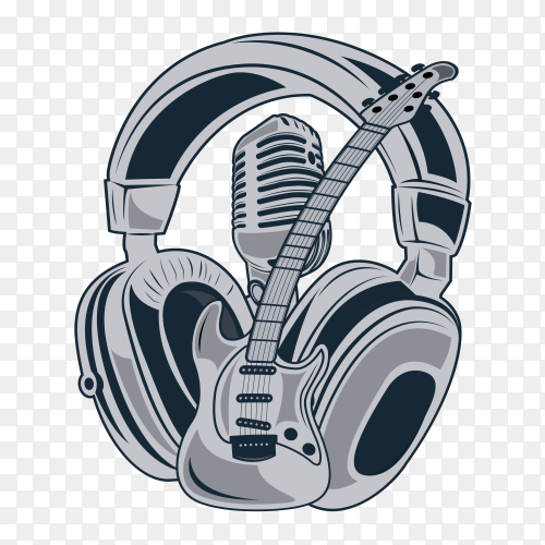 Headphone and guitar on transparent background PNG