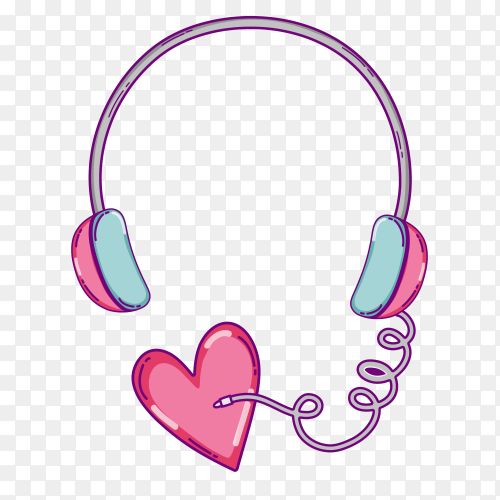 Headphone with heart concept illustration on transparent PNG