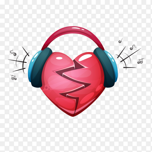Headphone with heart on transparent background PNG