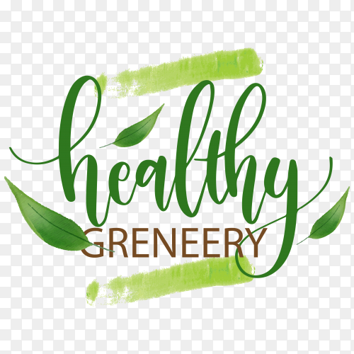 Healthy Greneery logo design on transparent background PNG