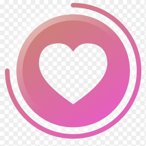 Heart icon gradient social media vector PNG