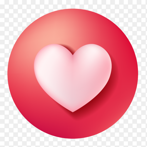 Heart on red circle on transparent PNG