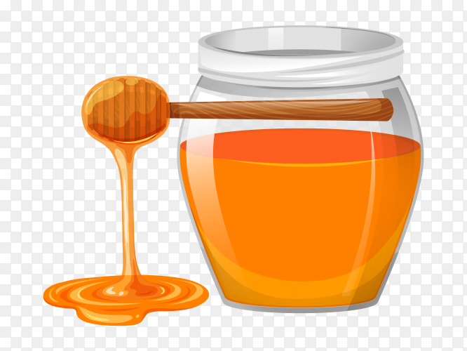 Honey jar and honey stick Premium vector PNG