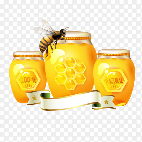 Honey jars with  bee on transparent background PNG