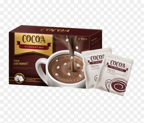 Hot chocolate drink package vector PNG