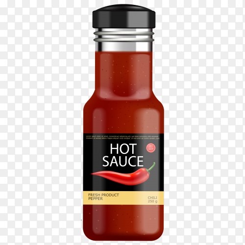 Hot sauce realistic bottle on transparent background PNG