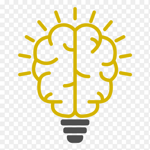 Human brain as light bulb lamp Premium Vector PNG