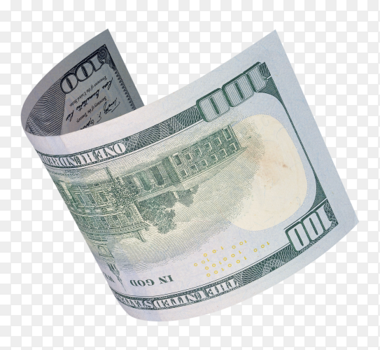 Hundred dollar bills on transparent PNG