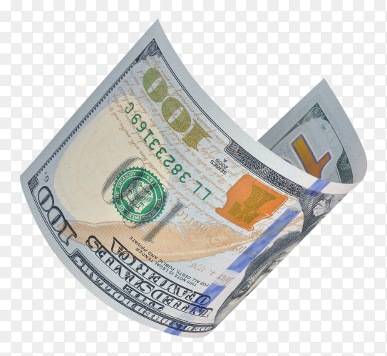 Hundred dollar bills on transparent background PNG