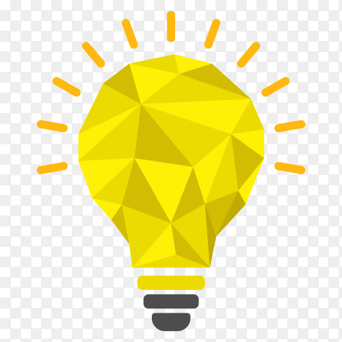 Illustration of Yellow light bulb icon on transparent background PNG