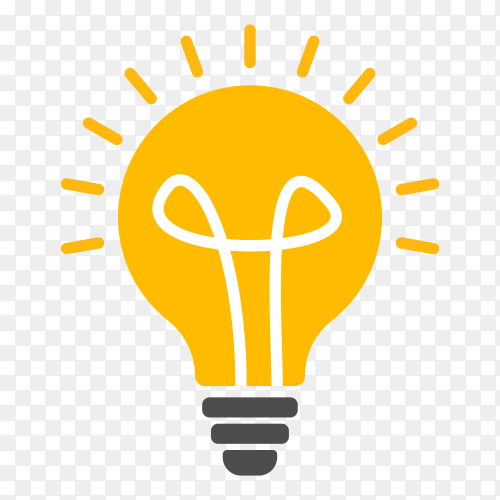 Illustration of light bulb icon on transparent background PNG