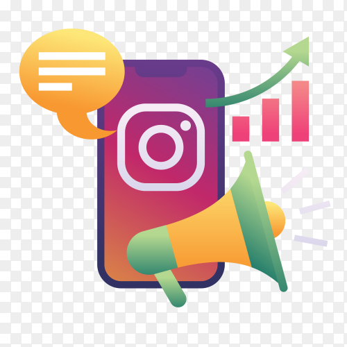 Instagram Marketing on transparent PNG