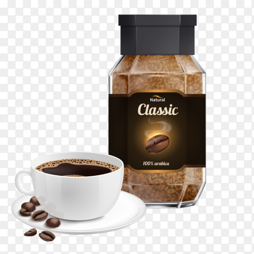 Instant coffee with Cup on transparent background PNG