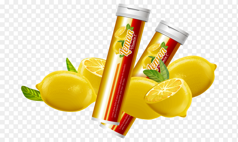 Juice lemon box on transparent background PNG