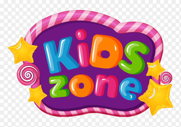 Kids zone cartoon 3d text style Clipart PNG