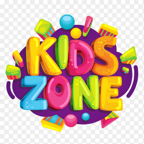 Kids zone label text sticker Premuim vector PNG