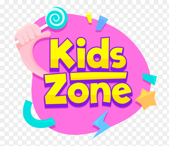 Kids zone text style on transparent background PNG