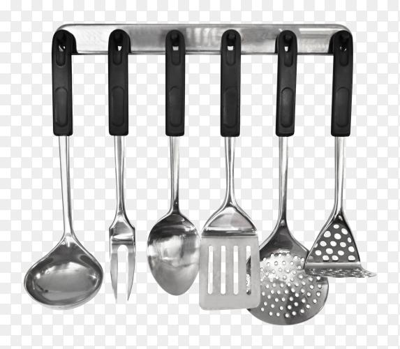 Kitchen tools utensils metal hanging rack on transparent background PNG