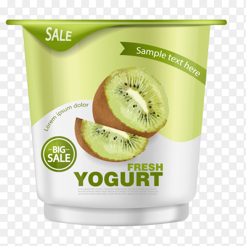 Kiwi yogurt realistic  Premium Vector PNG