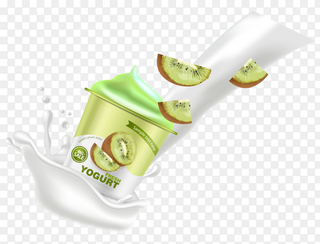 Kiwi yogurt realistic Clipart PNG