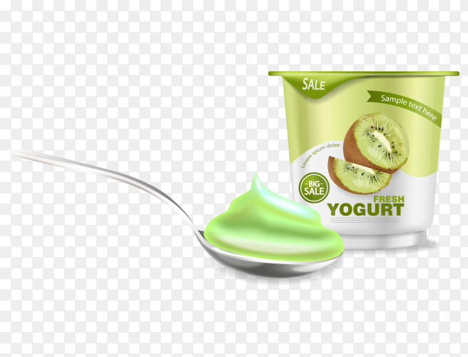 Kiwi yogurt realistic on transparent PNG