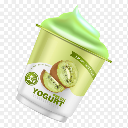 Kiwi yogurt realistic on transparent background PNG