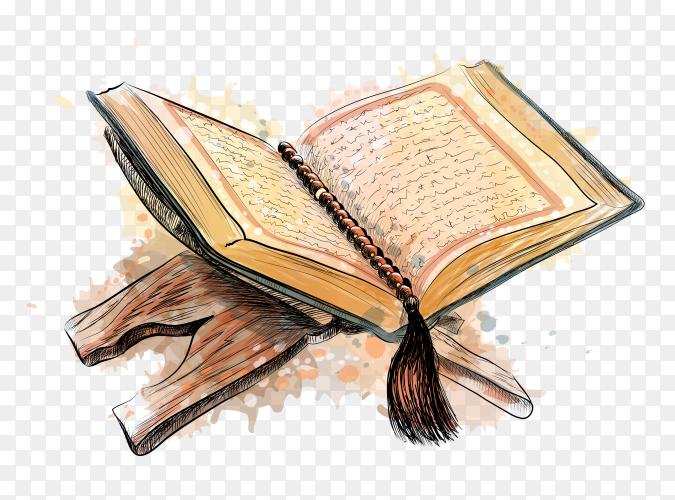 Kuran Quran Koran Holy Book Stand Holder Wooden on transparent background PNG