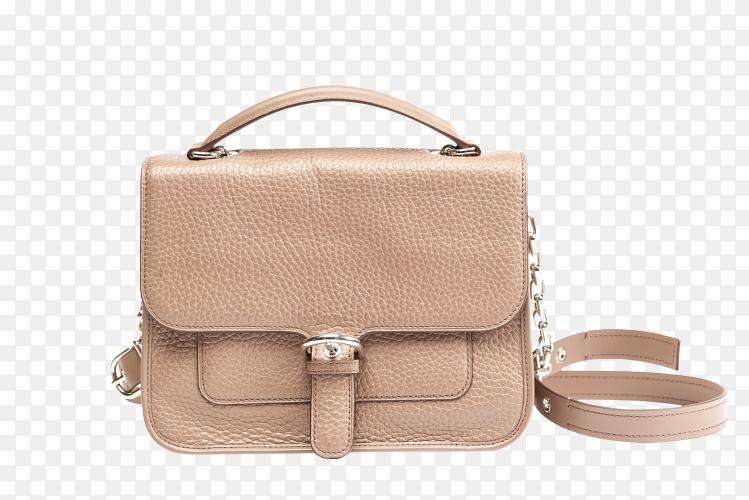 Leather female handbag on transparent background PNG