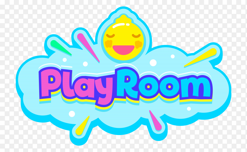 Lettering Play room on transparent background PNG