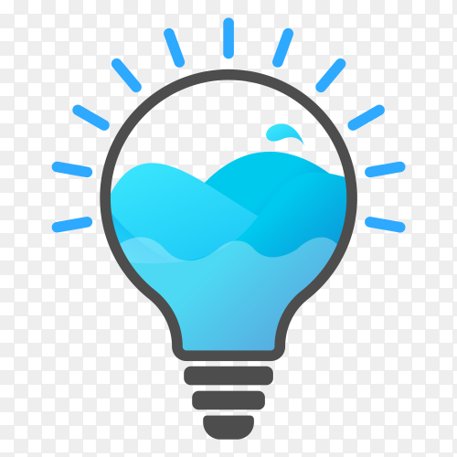 Light bulb with water inside on transparent background PNG