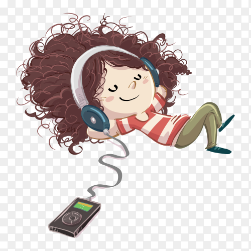 Little girl listening music with headphones on transparent PNG