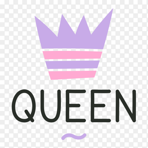Logo crown and Queen lettering Clipart PNG