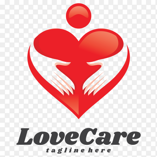 Love care logo Template on transparent background PNG