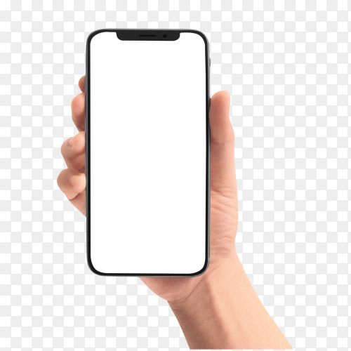 Male hand holding the black smartphone with blank screen royalty free on transparent  PNG