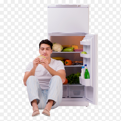 Man Eating sandwitch from refrigerator Clipart PNG