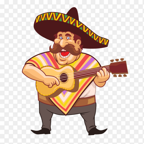 Man mexican with guitar Premium vector PNG