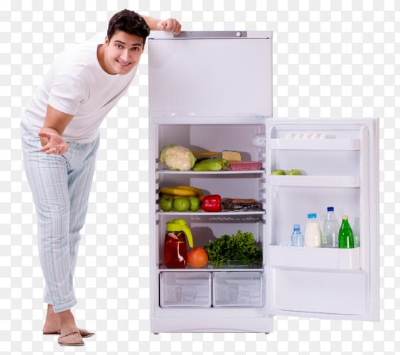 Man next to fridge full of food Premium image PNG