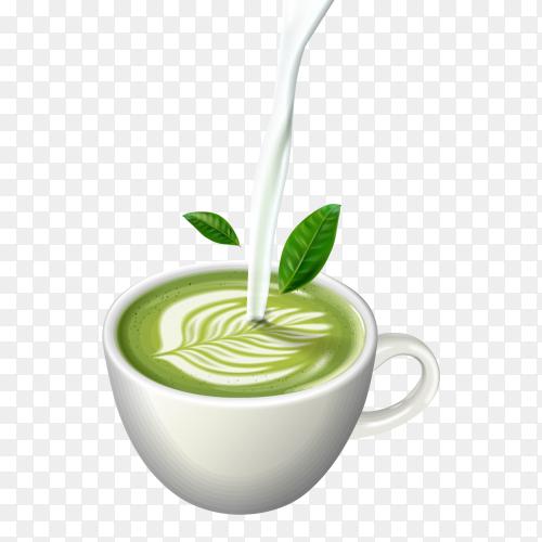 Matcha green tea latte art in cup Clipart PNG