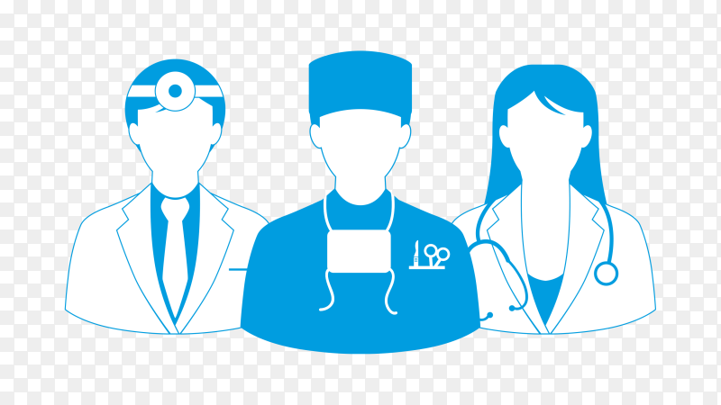 Medical team design on transparent background PNG