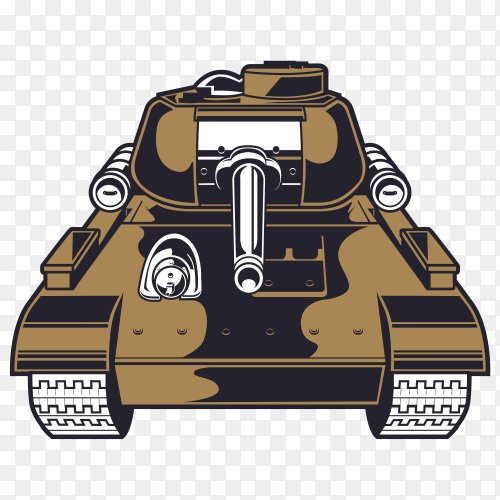 Military tank on transparent background PNG