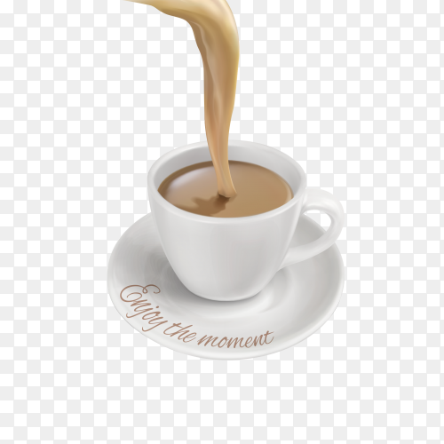 Milk Tea being poured into cup Premium vector PNG