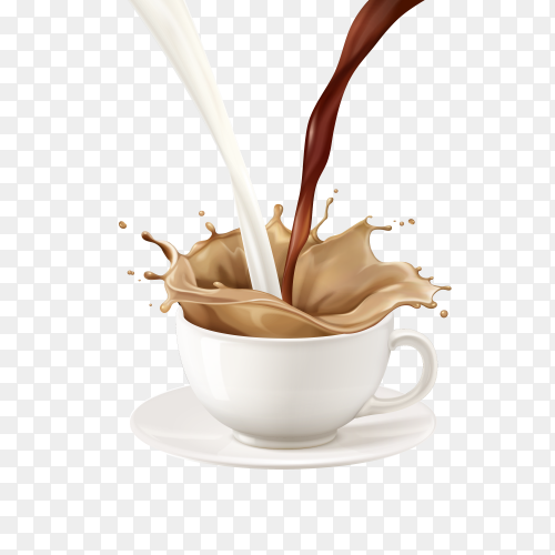 Milk Tea being poured into cup Premium vector PNG
