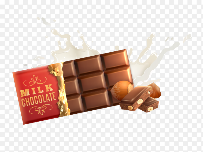 Milk chocolate bar with nuts Clipart PNG
