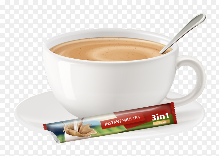 Milk tea on cup on transparent background PNG