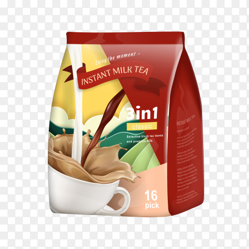 Milk tea package on transparent PNG
