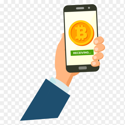 Mobile bitcoin receiving concept on transparent background PNG