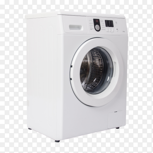 Modern White washing machine isolated on transparent background PNG